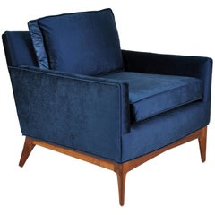 Mid-Century McCobb Style Walnut and Blue Velvet Lounge Chair