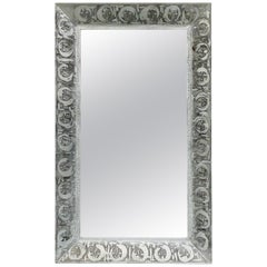 Midcentury Etched Steel Wall Mirror, Faces Motif