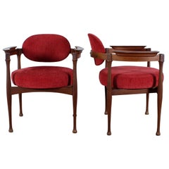 Midcentury Eugenio Gerli Pair of Red Armchairs, 1950s, Italy