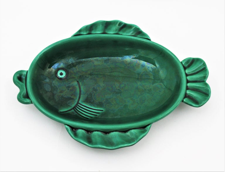 Mid-Century Modern Midcentury European Ceramic Fishes Multi-Color Wall Composition For Sale