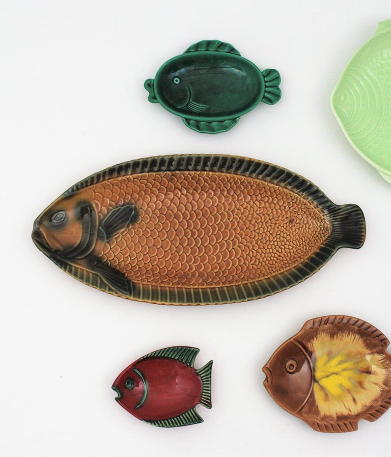 Midcentury European Ceramic Fishes Multi-Color Wall Composition For Sale 3
