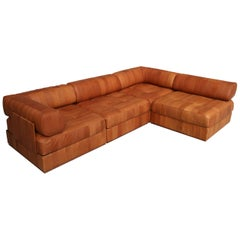 Midcentury Exclusive De Sede Swiss DS88 Patchwork Sofa Lounge of 4 Modules