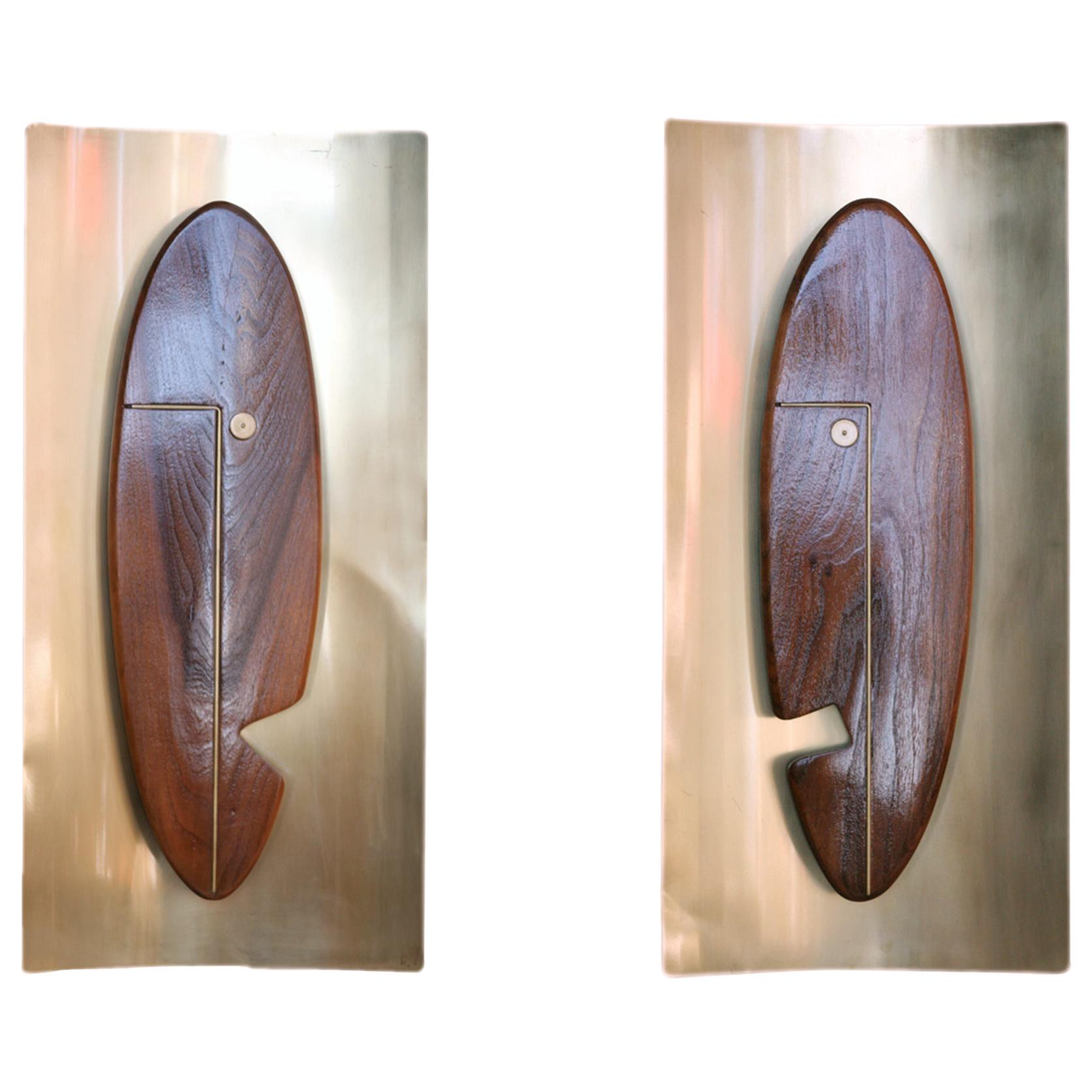 """Midcentury """"Face"""" Wall Art Sculpture Pair by Westwood Chadwick"""