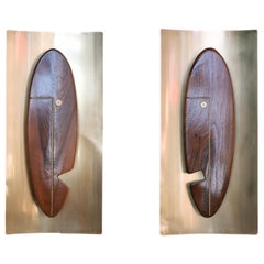 "Midcentury ""Face"" Wall Art Sculpture Pair by Westwood Chadwick"