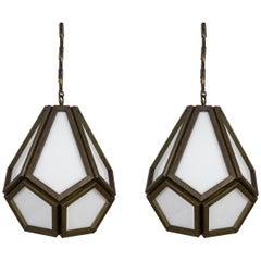 Midcentury Faceted Geometric Drop Pendants, Pair
