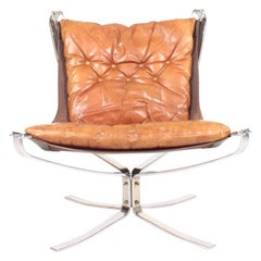 Midcentury Falcon Chair in Patinated Leather by Sigurd Ressel, 1960s