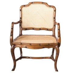 Midcentury Faux Bamboo Armchair with Straw Back and Seat Upholstery, 1940s