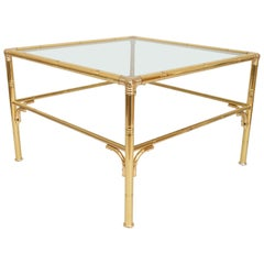 Midcentury Faux Bamboo Gold Brass & Glass Square Coffee Table, Italy, circa 1970