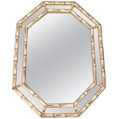 Midcentury Faux Bamboo Mirror in Gold
