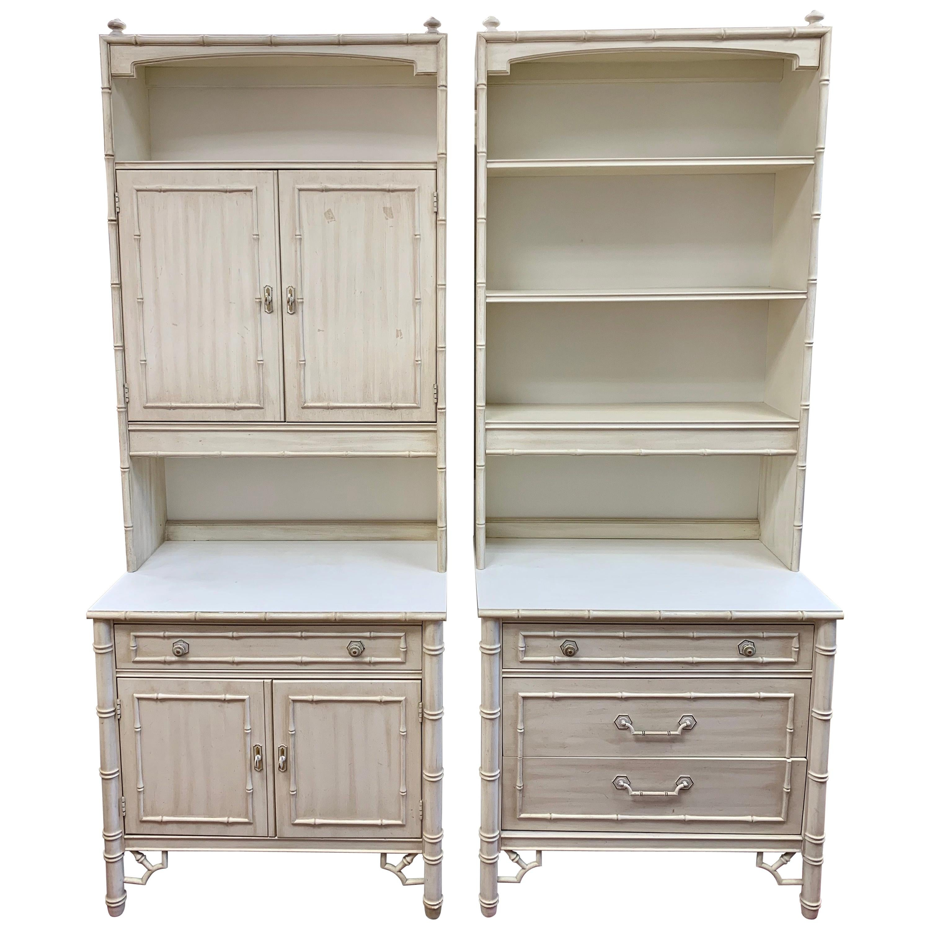Midcentury Faux Bamboo Nightstands Cabinets with Bookshelves, 4 Pieces