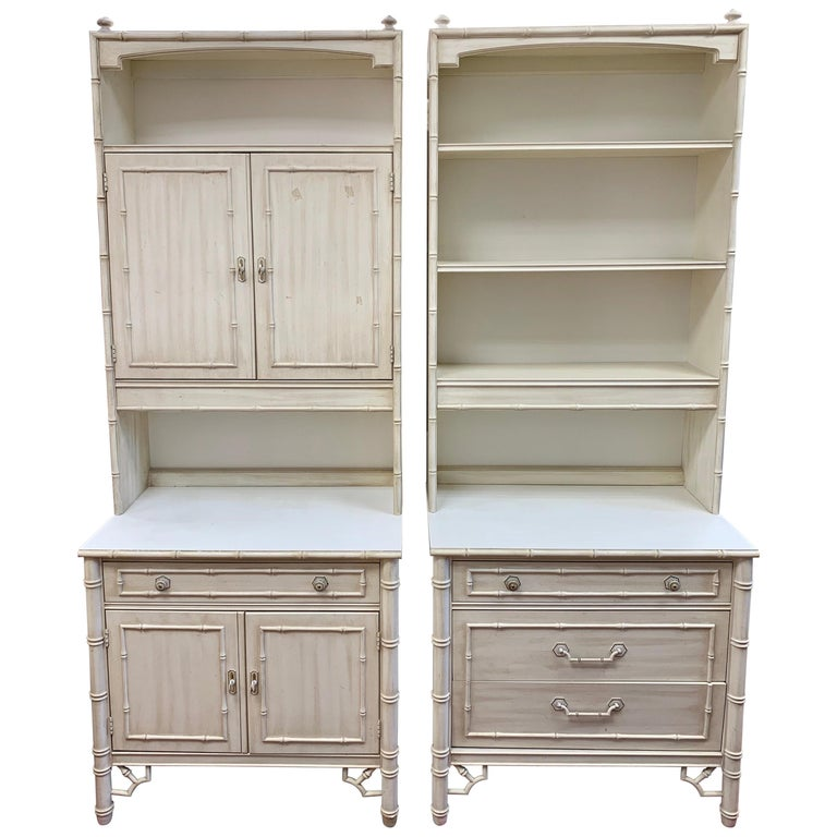 Midcentury Faux Bamboo Nightstands Cabinets with Bookshelves, 4 Pieces For Sale