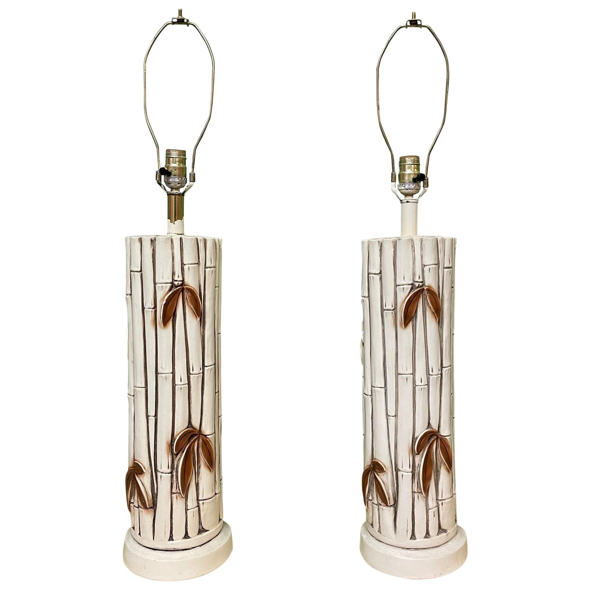 Midcentury Faux Bamboo Table Lamps, Pair