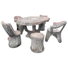 Midcentury Faux Bois Stone Garden Table and Chairs