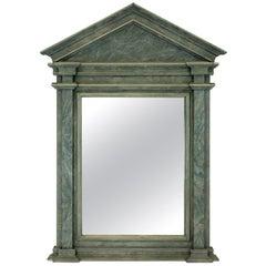 Midcentury Faux Marble Pediment Mirror