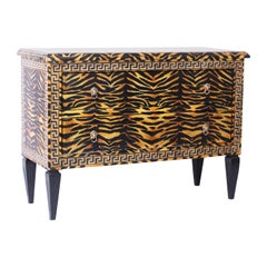 Midcentury Faux Tiger Italianate Commode or Chest