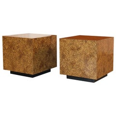 Midcentury Faux Tortoise Shell Cube Tables
