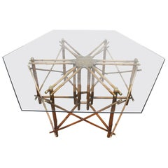 Midcentury Ficks Reed Bamboo, Brass and Glass Dining Table by John Wisner