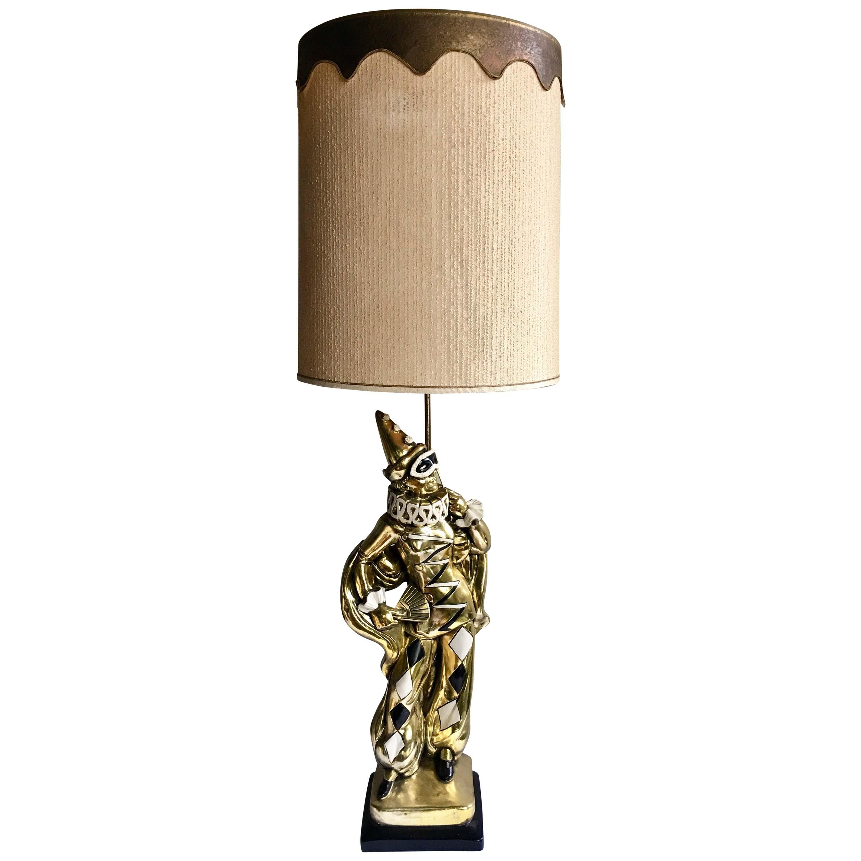 Midcentury Figural Jester Harlequin Plaster Table Lamp