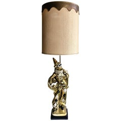 Midcentury Figural Jester Harlequin Plaster Table Lamp