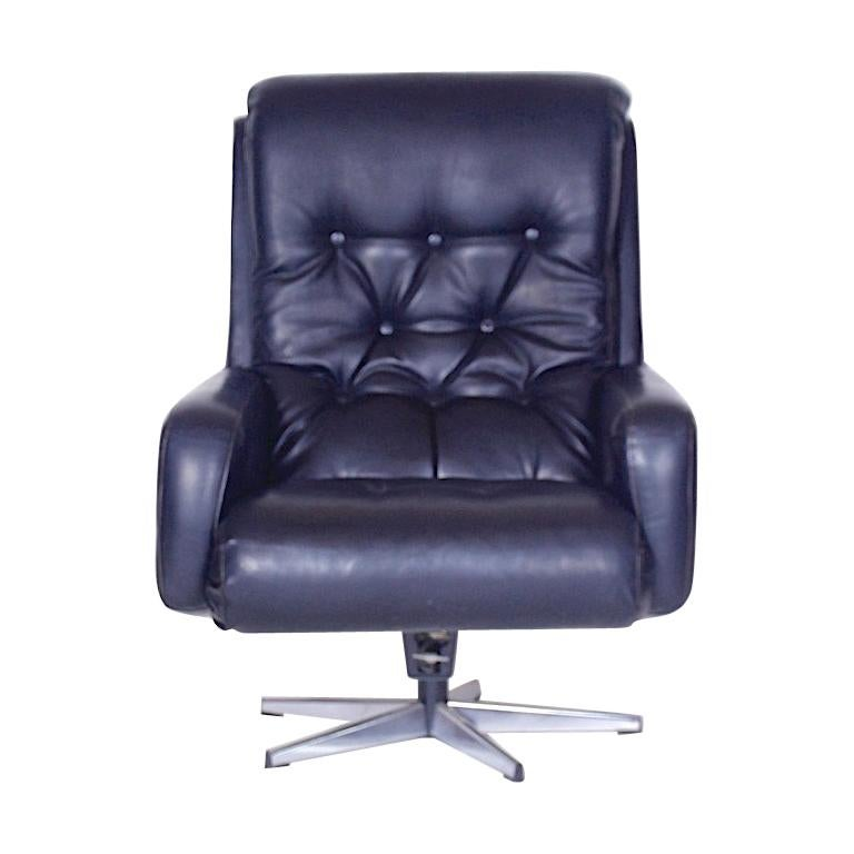 Midcentury Finland Leather Swivel Chair By Peem 1970s For Sale At
