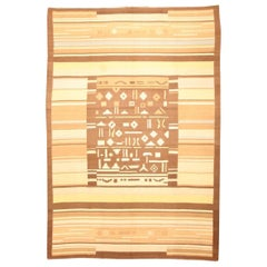 Midcentury Finnish Geometric Wool Rug in Brown, Beige and Yellow