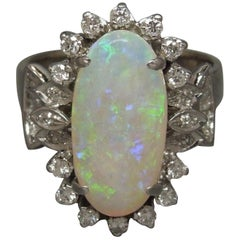 Midcentury Fire Opal and Diamond 18 Karat Ring