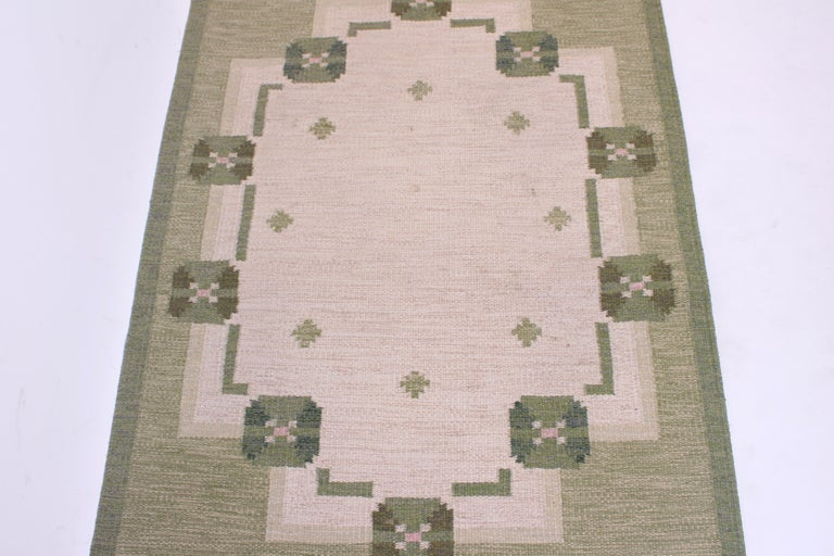 Scandinavian Modern Midcentury Flat-Weave Carpet by Anna-Johanna Ångström, 1960s For Sale