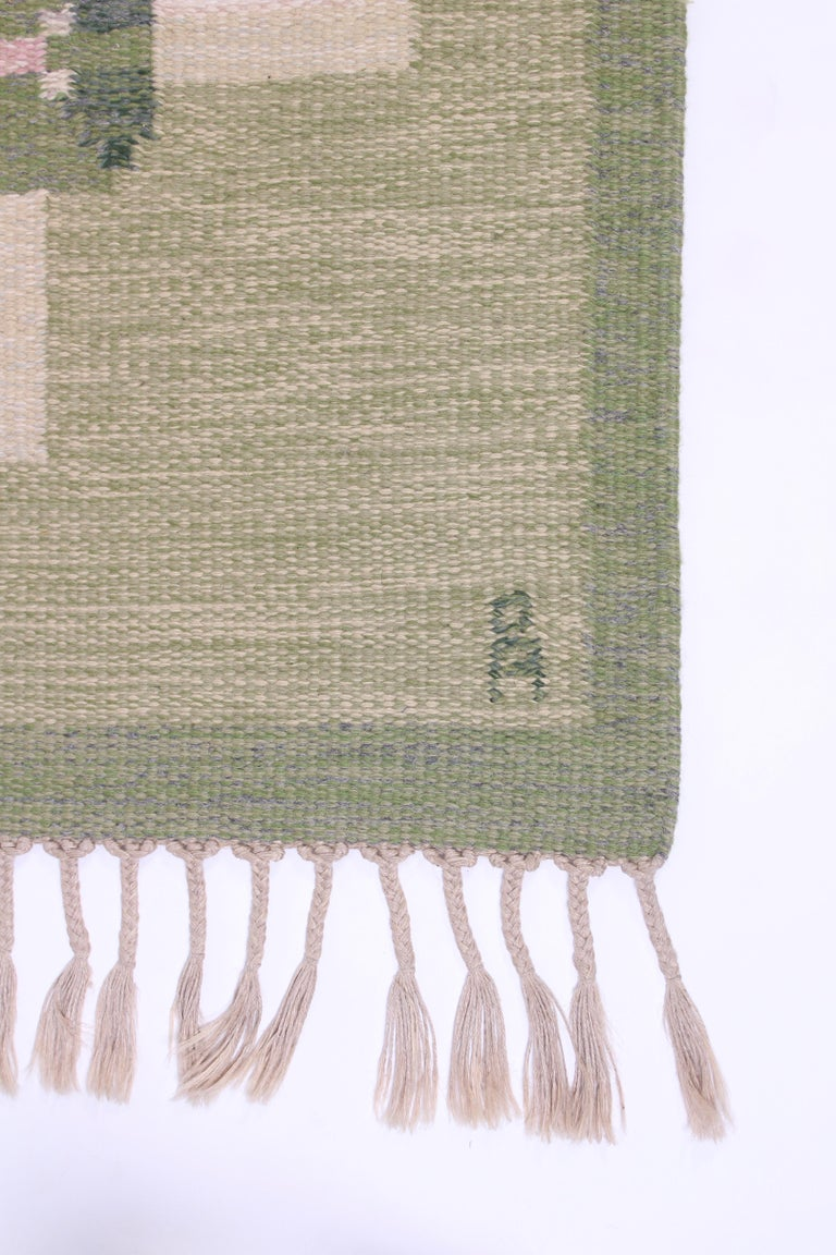 Midcentury Flat-Weave Carpet by Anna-Johanna Ångström, 1960s In Good Condition For Sale In Malmo, SE