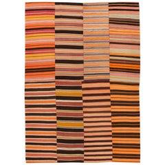 Midcentury Flat-Weave Handmade Orange Wool Rug