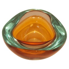 Midcentury Flavio Poli Seguso Blue Brown Sommerso Murano Art Glass Bowl