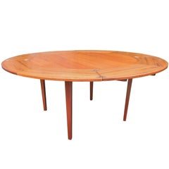 Midcentury Flip-Flap Teak Dining Table from Dyrlund, 1950s
