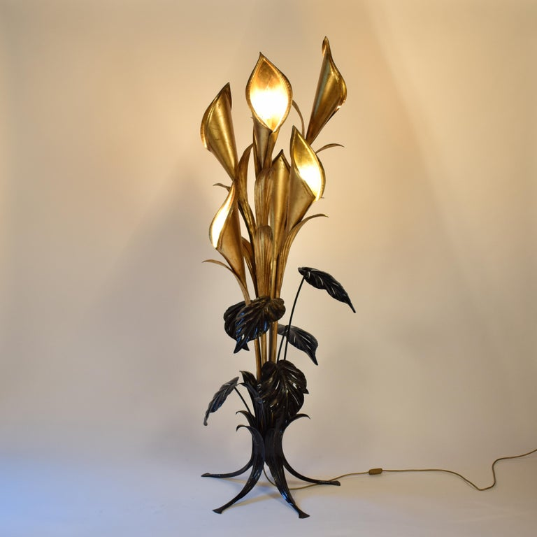 Hans Kögl Stehlampen mit großen tropischen Blumen, Mitte des Jahrhunderts 4