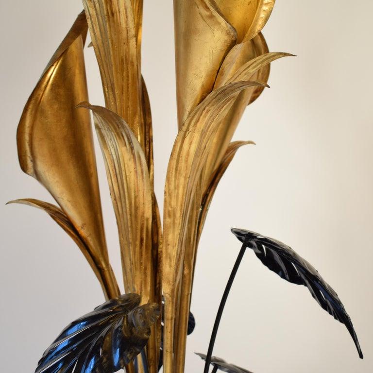 Hans Kögl Stehlampen mit großen tropischen Blumen, Mitte des Jahrhunderts 8