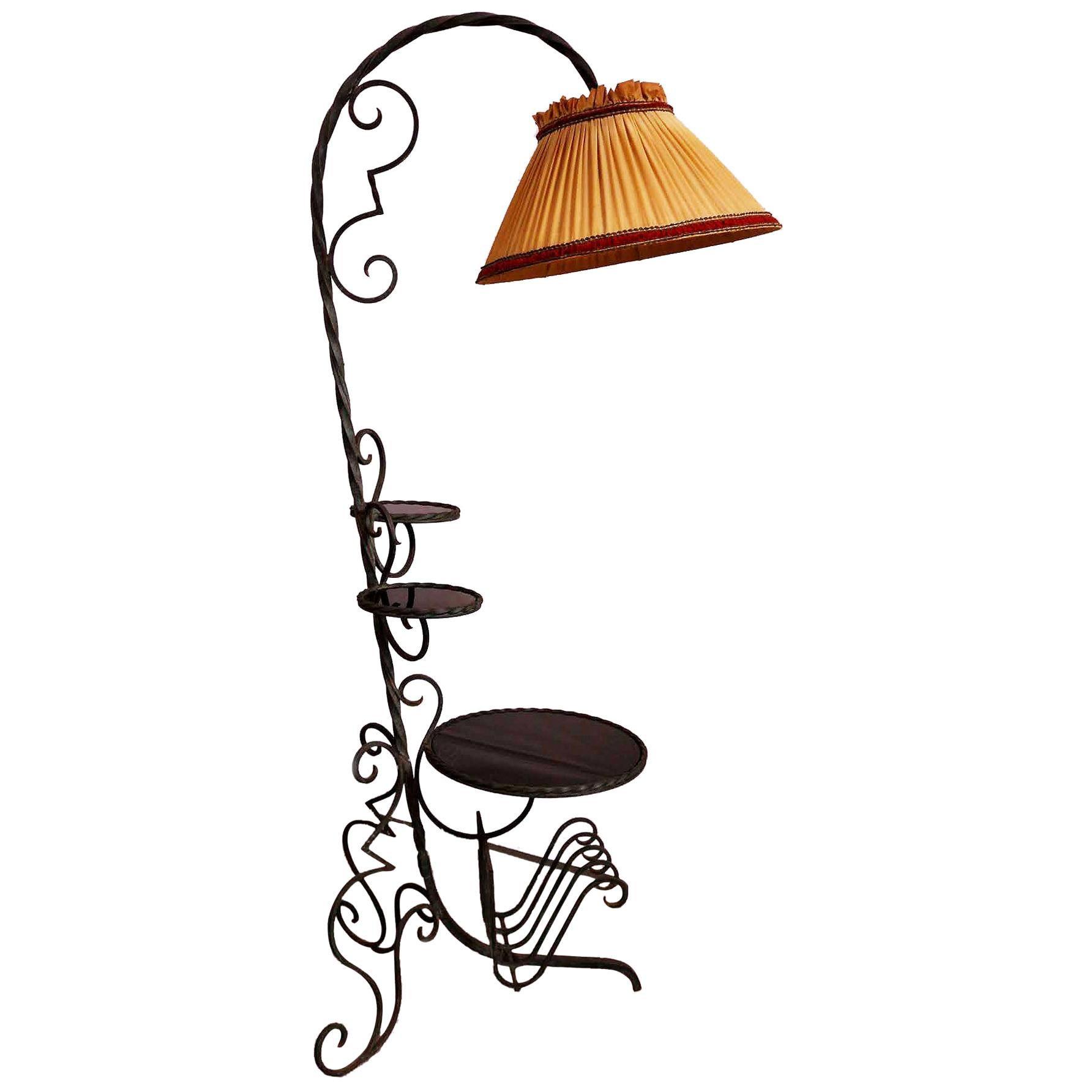 Midcentury Floor Lamp French Wrought Iron Black Glass Plant Stand Magazine Rack