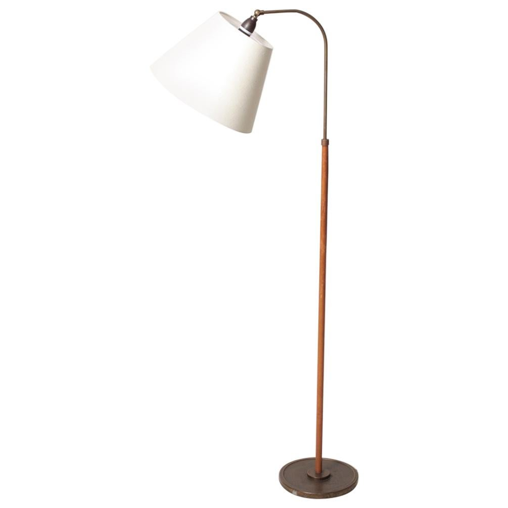 Midcentury Floor Lamp in Brass and Leather, Made in Denmark, 1960s