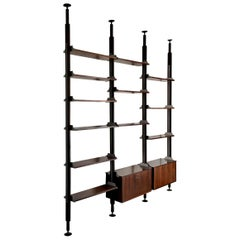 Midcentury Floor-to-Ceiling Shelving Unit by Stildomus, Italy 'Labelled'