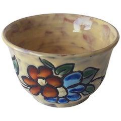 Midcentury Floral Designed Ceramic Bowl Signed Miclay