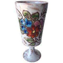 Midcentury Floral Designed Ceramic Vase Signed Miclay