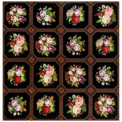 Midcentury Floral Needlework Rug in Black, Green, Pink, Purple and Yellow