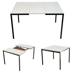 Midcentury Florence Knoll T Angle Dining Table with Butterfly Leaf Black & White