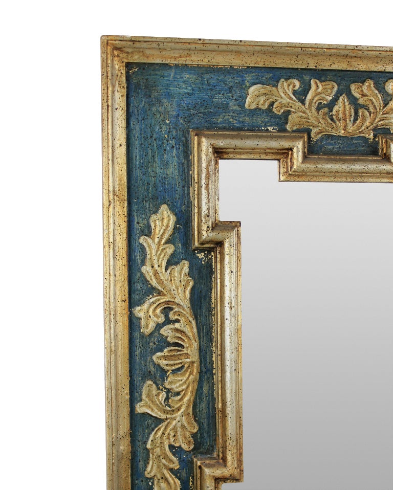 Midcentury Florentine Painted and Gilded Mirror In Good Condition In London, GB