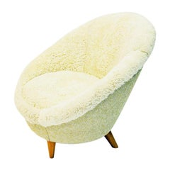 Midcentury Florida Easy chair in sheepskin, Vatne Lenestolfabrikk, Norway, 1950s