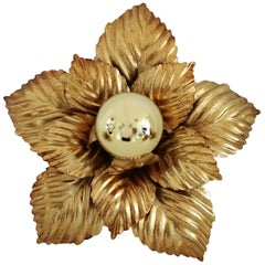 Midcentury Flower Flush Mount Light or Wall Sconce in Golden Metal, 1970s