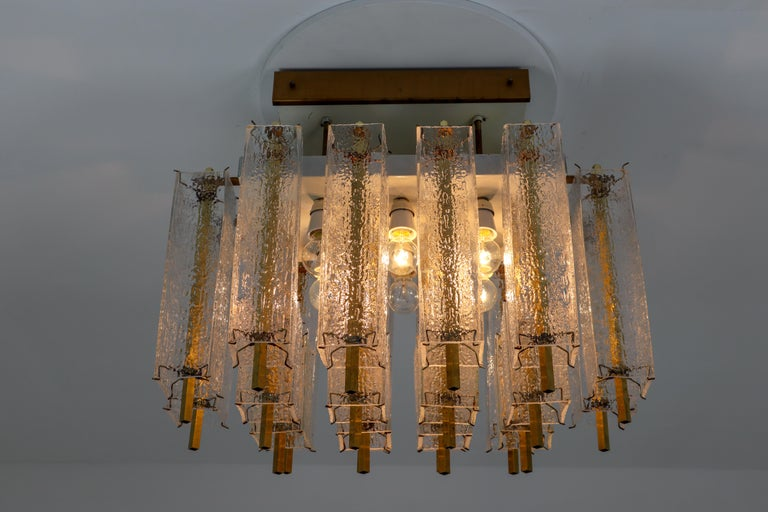 Hollywood Regency Midcentury Flush Mount Chandelier with Structured Glass and Brass Frame, 1960s For Sale