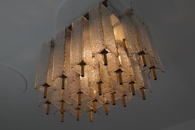 20th Century Midcentury Flush Mount Chandelier with Structured Glass and Brass Frame, 1960s For Sale