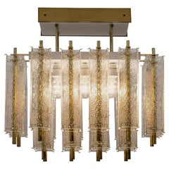 Midcentury Flush Mount Chandelier with Structured Glass and Brass Frame, 1960s