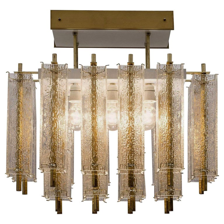 Midcentury Flush Mount Chandelier with Structured Glass and Brass Frame, 1960s For Sale