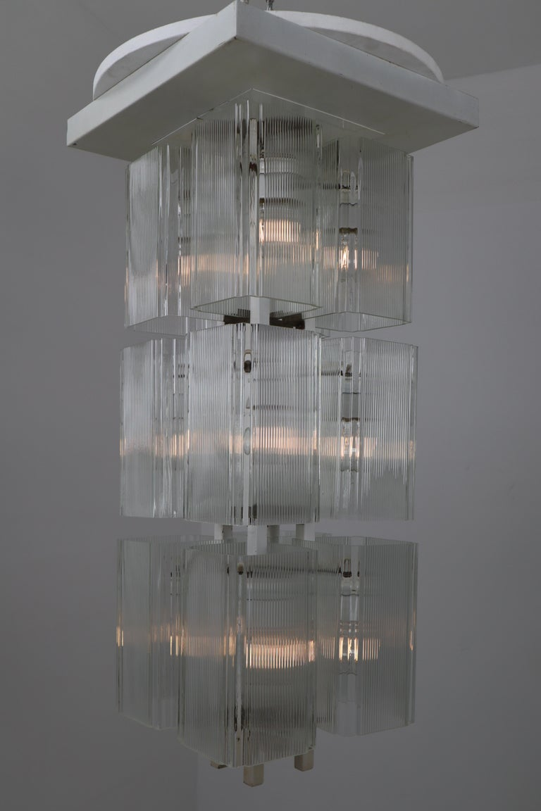 Late 20th Century Midcentury Flush Mounts in White Metal and Art Glass, Europe, 1970s For Sale