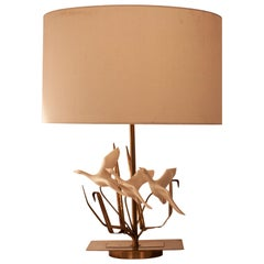 Midcentury Flying Birds Resin and Brass Table Lamp, French, 1970s