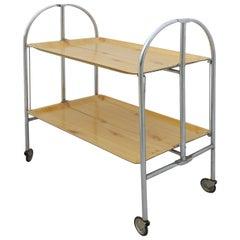 Midcentury Folding Bar Cart Drinks Trolley Tea Coffee Table, French, c1950